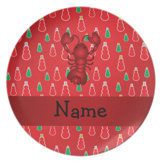 Personalized name lobster red snowmen dinner plates