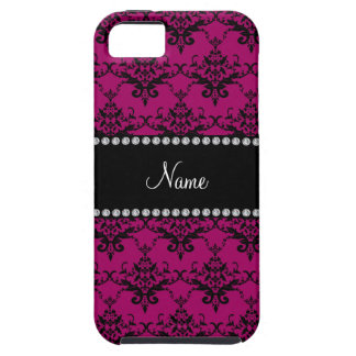 Personalized name Magenta pink black damask iPhone 5 Cases