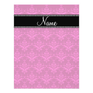 Personalized name Magenta pink damask Custom Flyer