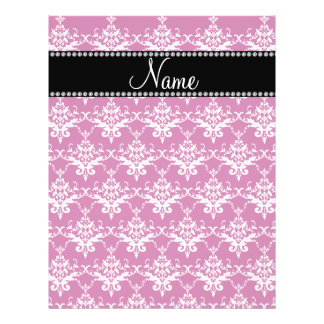 Personalized name magenta pink damask full color flyer