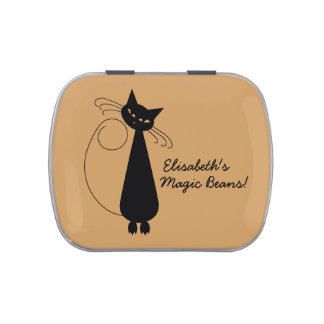Personalized Name Magic Beans! Wise Black Cat Candy Tin