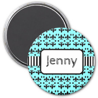 Personalized Name Magnet Teal and Black Anchors