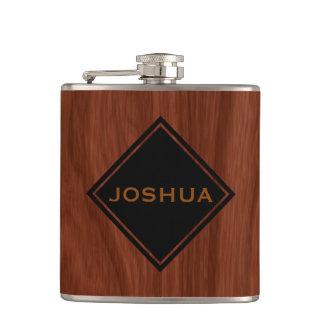 Personalized Name | Mahogany Woodgrain Masculine Hip Flask