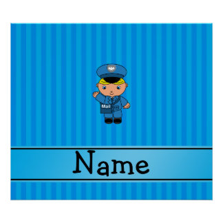 Personalized name mailman blue stripes poster