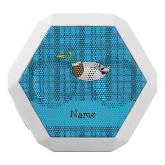 Personalized name mallard duck blue plaid white boombot rex bluetooth speaker