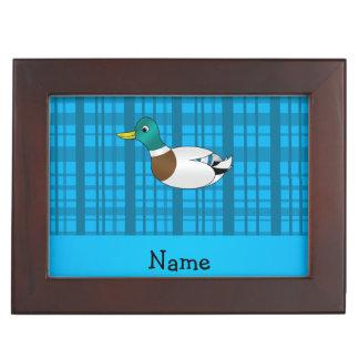 Personalized name mallard duck blue plaid keepsake boxes