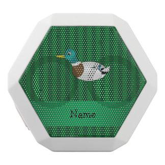 Personalized name mallard duck green stripes white boombot rex bluetooth speaker