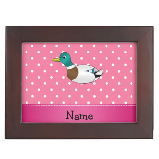 Personalized name mallard duck pink polka dots memory boxes