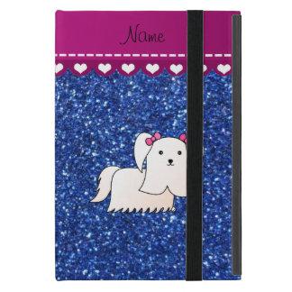 Personalized name maltese blue glitter cover for iPad mini