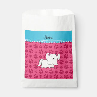 Personalized name maltese pink dog paws favour bags