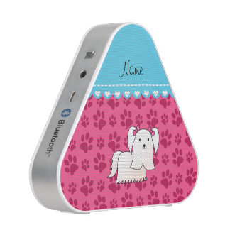 Personalized name maltese pink dog paws bluetooth speaker