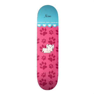 Personalized name maltese pink dog paws 21.3 cm mini skateboard deck