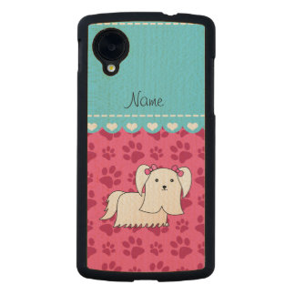 Personalized name maltese pink dog paws carved® maple nexus 5 slim case