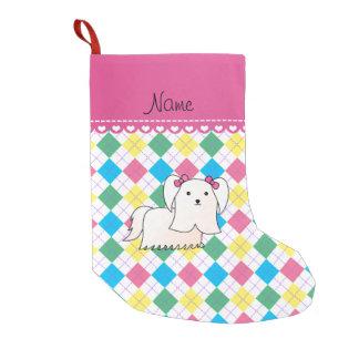 Personalized name maltese rainbow argyle small christmas stocking