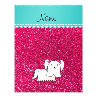 Personalized name maltese rose pink glitter 21.5 cm x 28 cm flyer