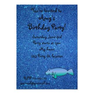 Personalized name manatee blue glitter 11 cm x 16 cm invitation card