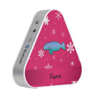 Personalized name manatee pink snowflakes