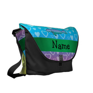 Personalized name manatee rainbow hearts courier bag