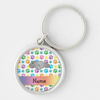 Personalized name manatee rainbow paws key ring