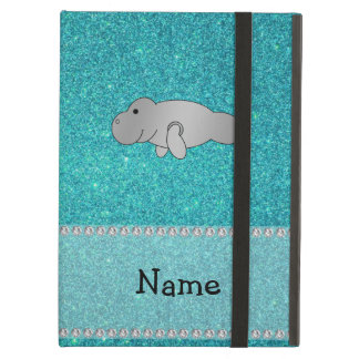 Personalized name manatee turquoise glitter iPad air cover