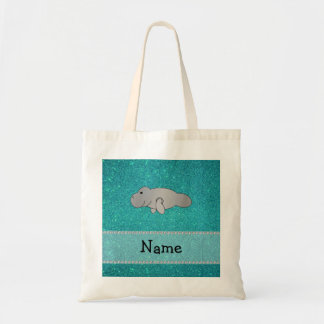 Personalized name manatee turquoise glitter tote bag