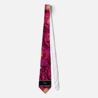 Personalized name Maroon pink roses Tie