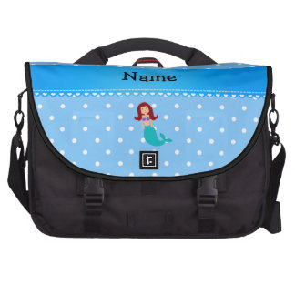 Personalized name mermaid blue polka dots bag for laptop