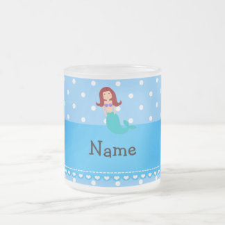 Personalized name mermaid blue polka dots coffee mugs