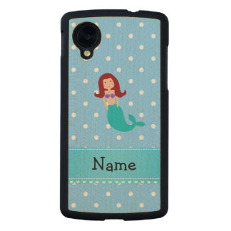 Personalized name mermaid blue polka dots carved® maple nexus 5 case