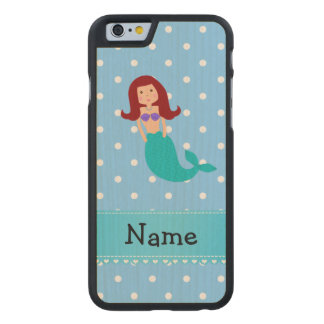 Personalized name mermaid blue polka dots carved® maple iPhone 6 case