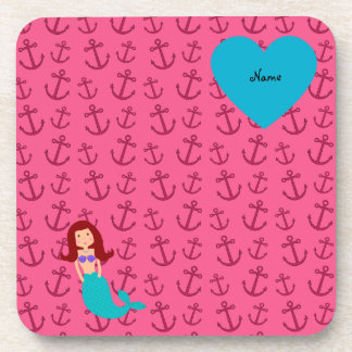 Personalized name mermaid pink anchors coaster