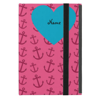 Personalized name mermaid pink anchors iPad mini cases