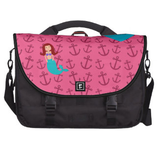 Personalized name mermaid pink anchors commuter bags