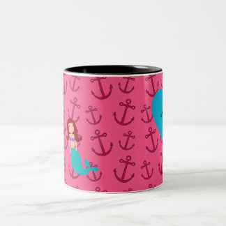 Personalized name mermaid pink anchors coffee mug