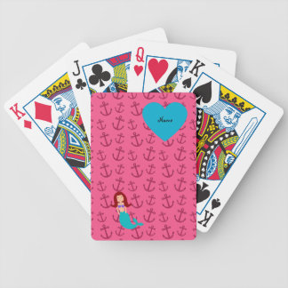 Personalized name mermaid pink anchors bicycle poker cards