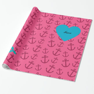Personalized name mermaid pink anchors wrapping paper