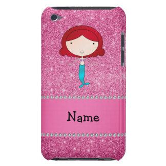 Personalized name mermaid pink glitter barely there iPod case