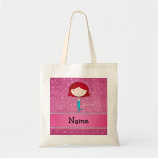 Personalized name mermaid pink glitter tote bag