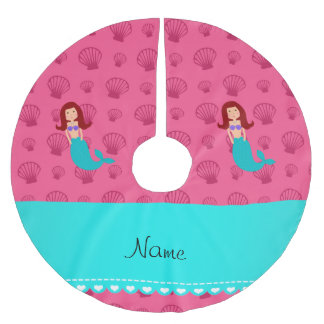 Personalized name mermaid pink shells brushed polyester tree skirt