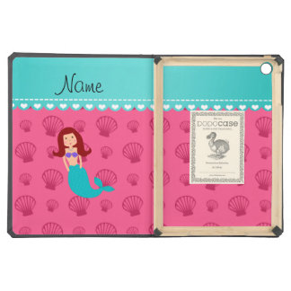 Personalized name mermaid pink shells cover for iPad air
