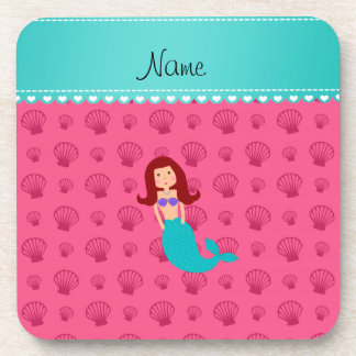 Personalized name mermaid pink shells drink coaster