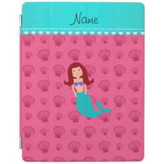 Personalized name mermaid pink shells iPad cover