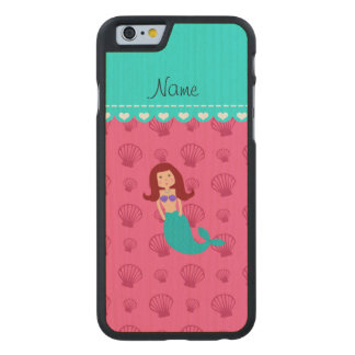 Personalized name mermaid pink shells carved® maple iPhone 6 slim case