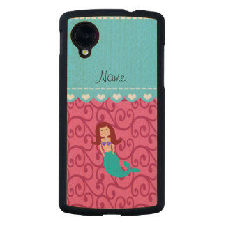 Personalized name mermaid pink swirls carved® maple nexus 5 case