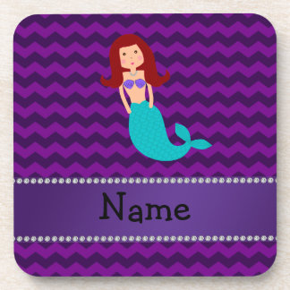 Personalized name mermaid purple chevrons beverage coasters