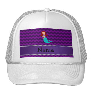 Personalized name mermaid purple chevrons hat