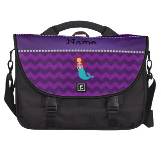Personalized name mermaid purple chevrons computer bag