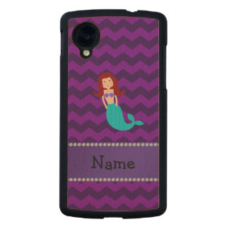 Personalized name mermaid purple chevrons carved® maple nexus 5 case