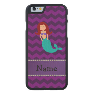 Personalized name mermaid purple chevrons carved® maple iPhone 6 case