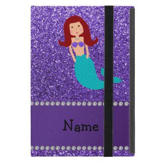Personalized name mermaid purple glitter case for iPad mini